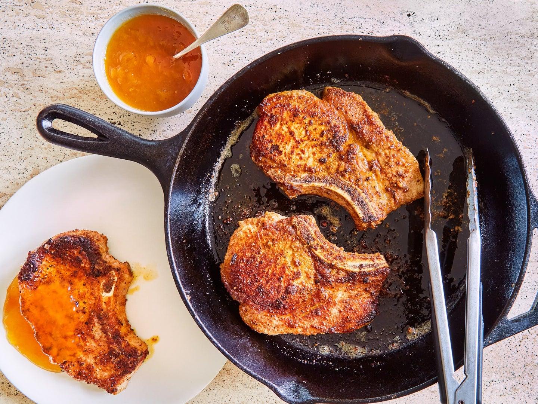 Skillet Fried Pork Chops with Peach Jam