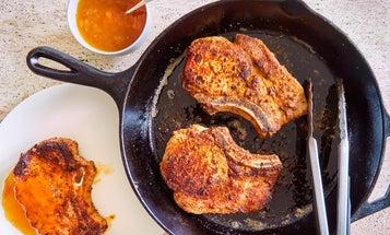 Skillet-Fried Pork Chops with Peach Jam