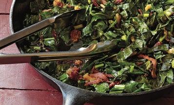 Garlicky Skillet Greens with Ham