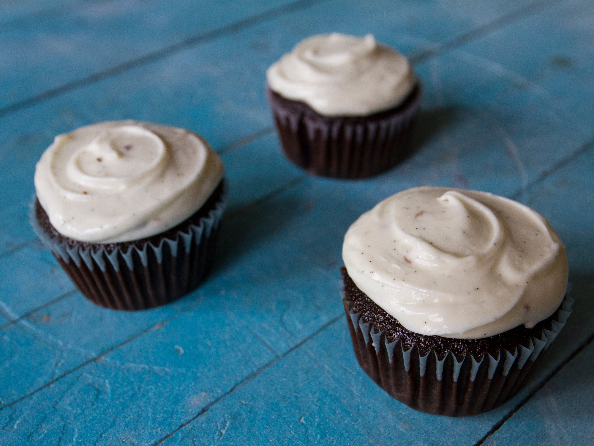 Chocolate Cupcakes with Goat Cheese Frosting