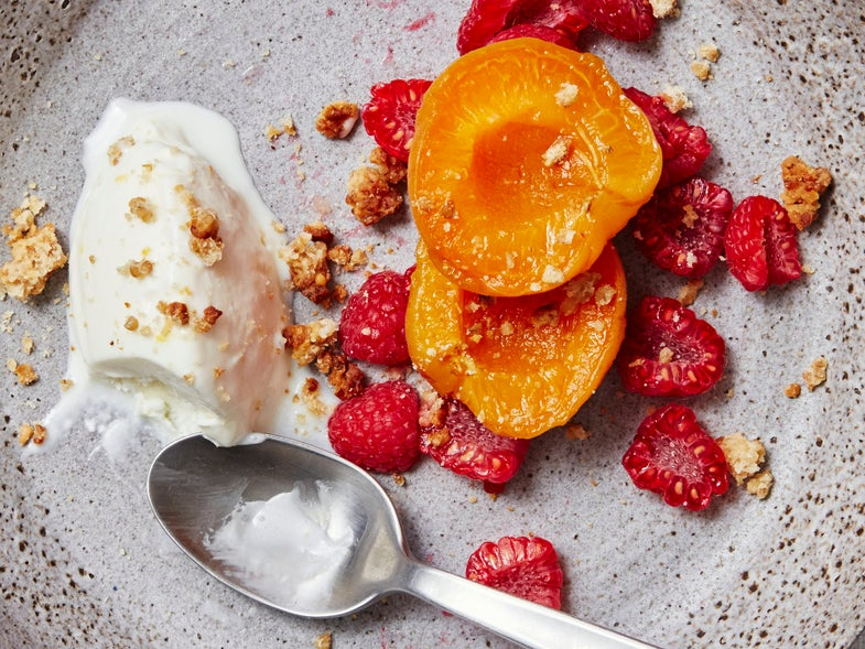 Sweet Cheese Ice Cream with Apricots, Raspberries, and Honey Granola