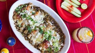 Hatch green chile enchiladas