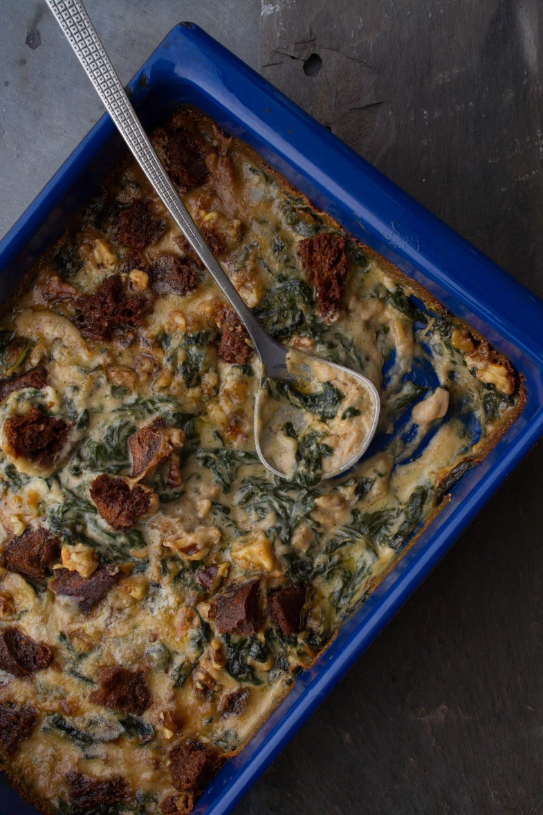 Creamed Swiss Chard with Gorgonzola, Rye Bread Crumbs, and Walnuts, Late Winter Feast