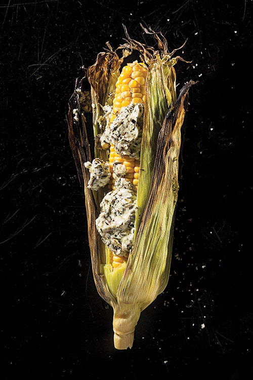 Grilled Corn with Herbed Goat Cheese Butter