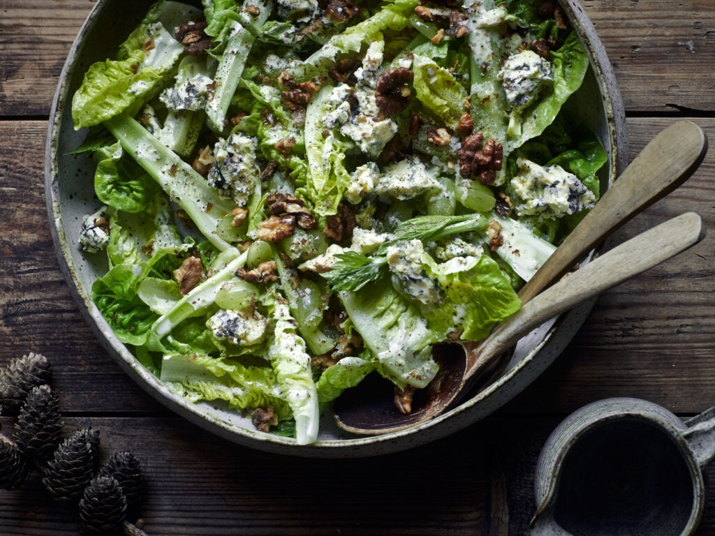 Blue Cheese, Grape, and Gem Lettuce Salad