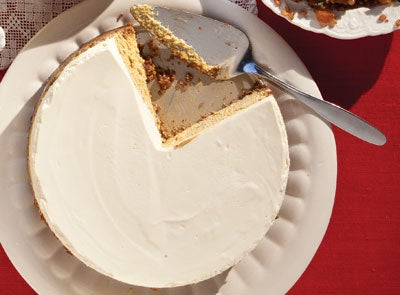 Pumpkin Cheesecake with Gingersnap and Hazelnut Crust