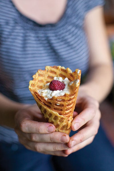 Waffle Cones Filled With Sweet Cheese and Berries (Pilditas Vafeles)
