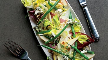 Endive and Roquefort Salad with Smoked Pepper Jelly and Hazelnuts