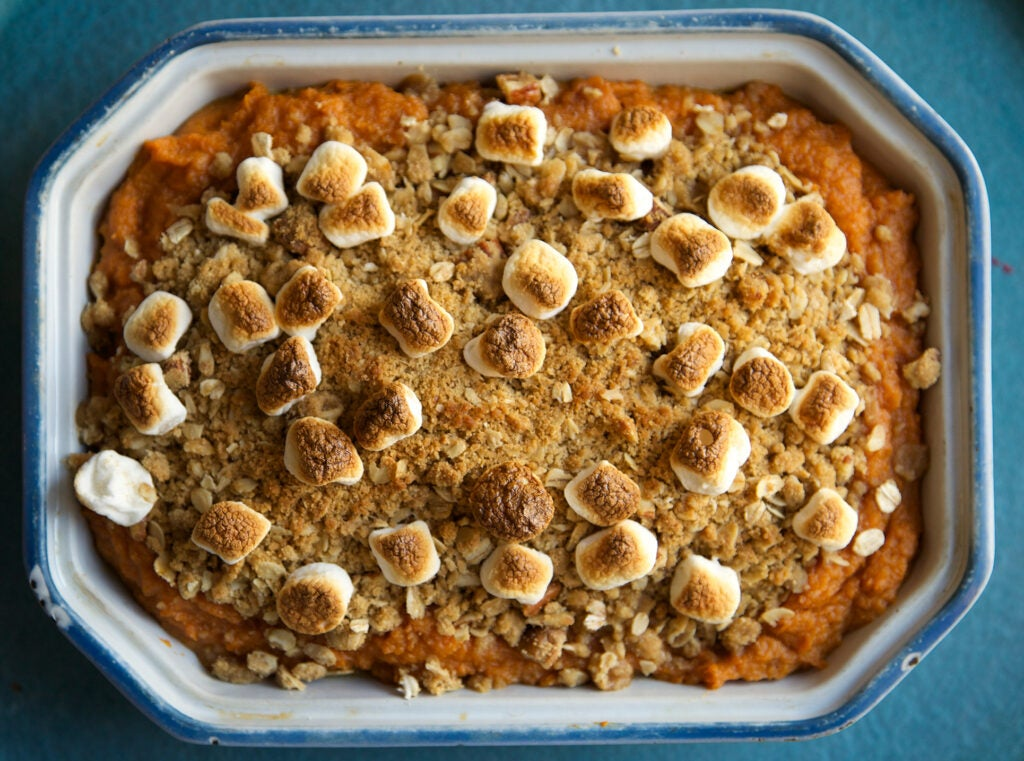 Sweet Potato Casserole Pecan Crumble