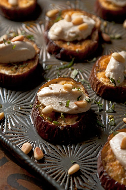 Roasted Eggplant with Goat Cheese Tahini and Pine Nuts