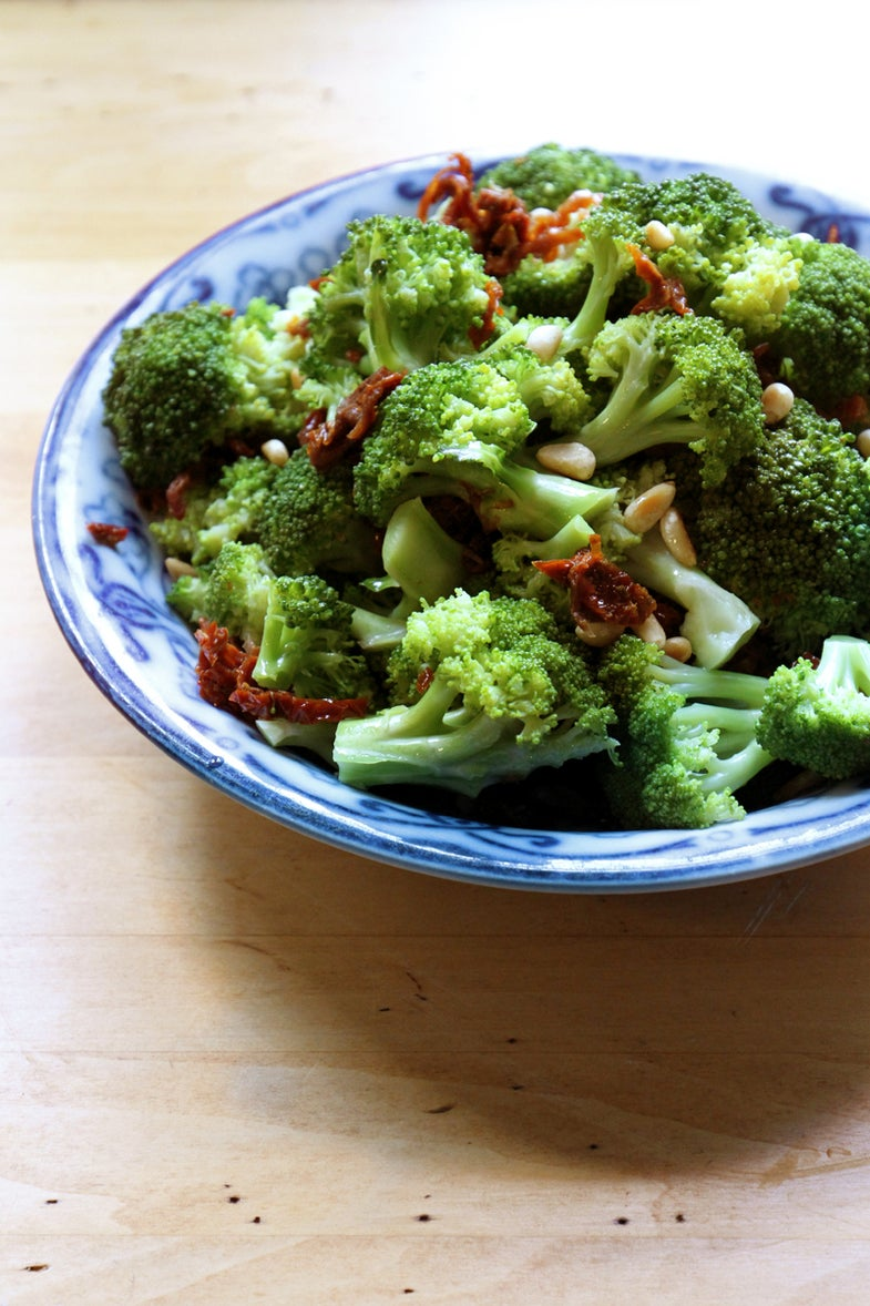 Steamed Broccoli with Sun-Dried Tomatoes and Pine Nuts