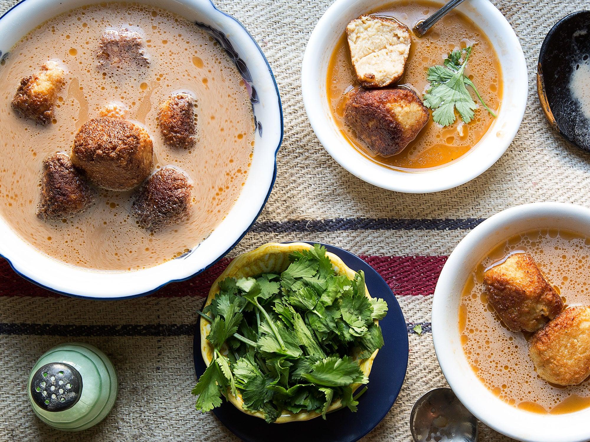 Masa Ball and Tomato Soup