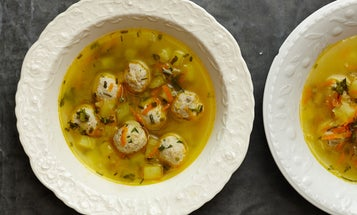 Frikadelki in Broth with Fermented Herbs