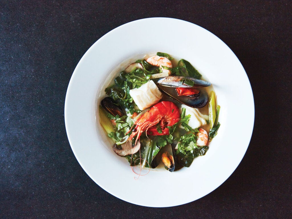 seafood soup with ginger and yuzu kosho