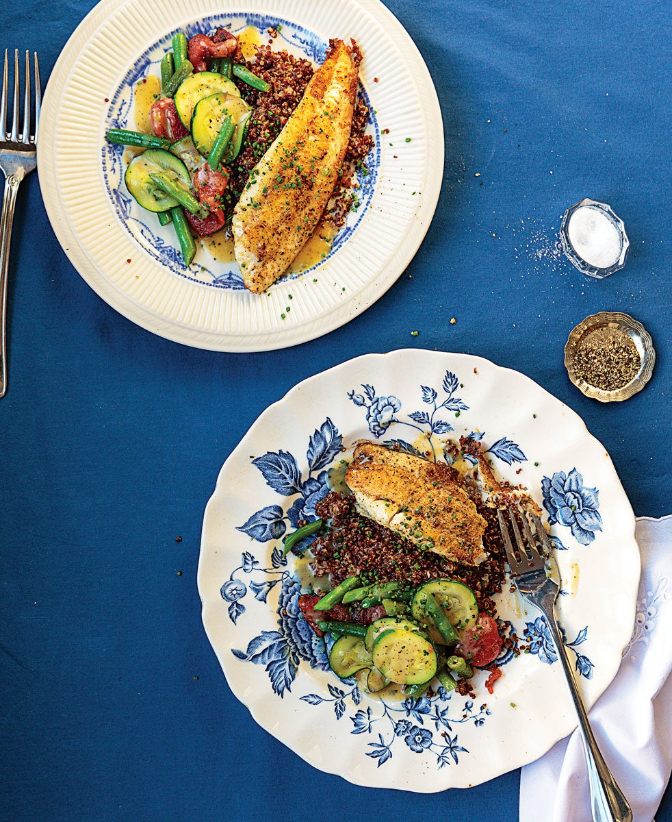 Pan-Fried Sole with Red Quinoa and Vegetables