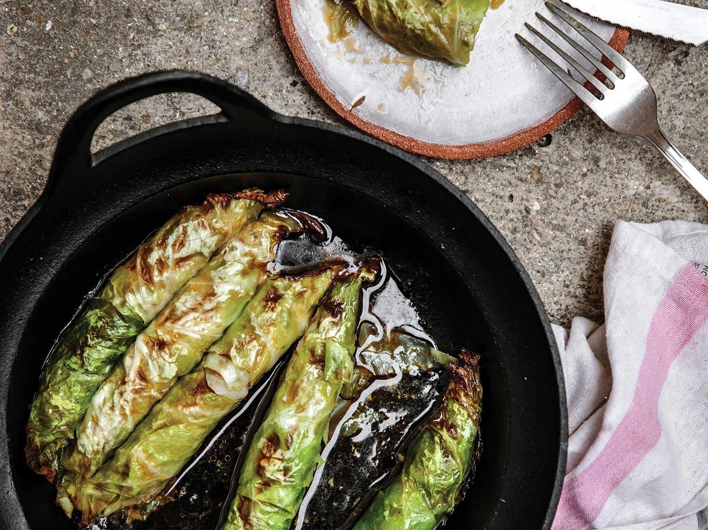 Lamb-Stuffed Cabbage Rolls with Green Tahini