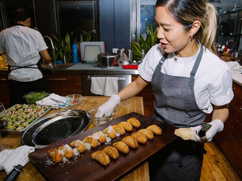 Chef Esther Choi plates her pizza dumplings