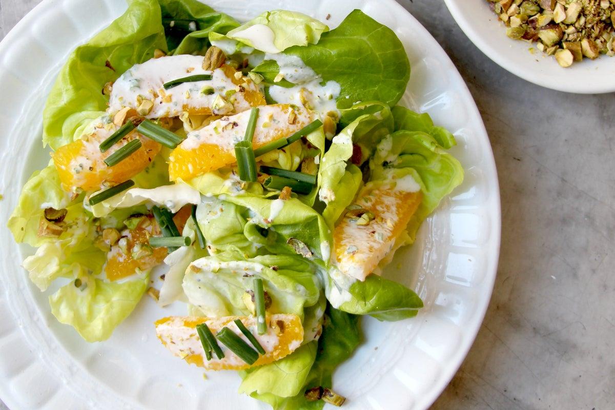 Butter Lettuce Salad with Pistachios and Orange Crème Fraîche Dressing
