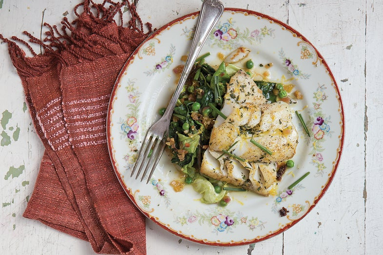 Pan-Seared Cod with Spring Vegetables