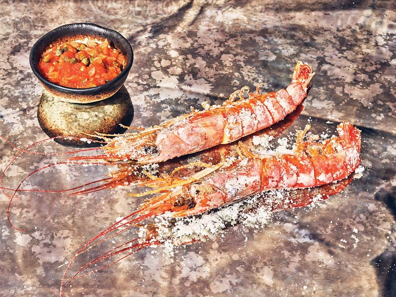 Salt-Baked Shrimp with Caper Sofrito