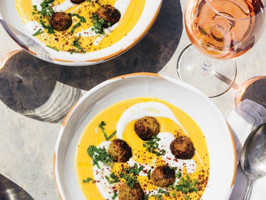 Yellow Tomato Soup with Lamb Meatballs, Yogurt, and Mint