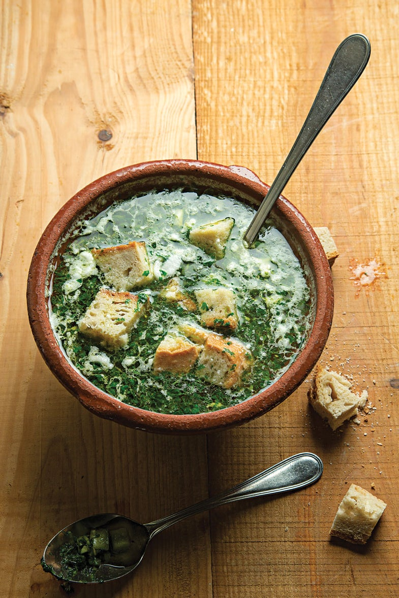 Bread and Garlic Soup with Cilantro