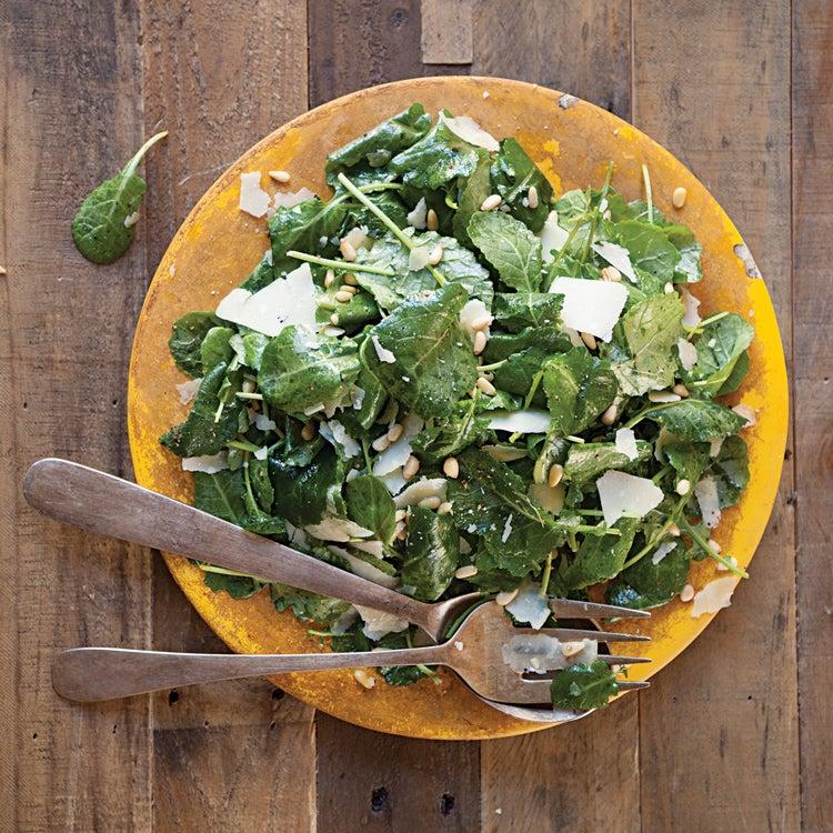 Baby Kale Salad with Pine Nuts, Parmesan, and Lemon Vinaigrette