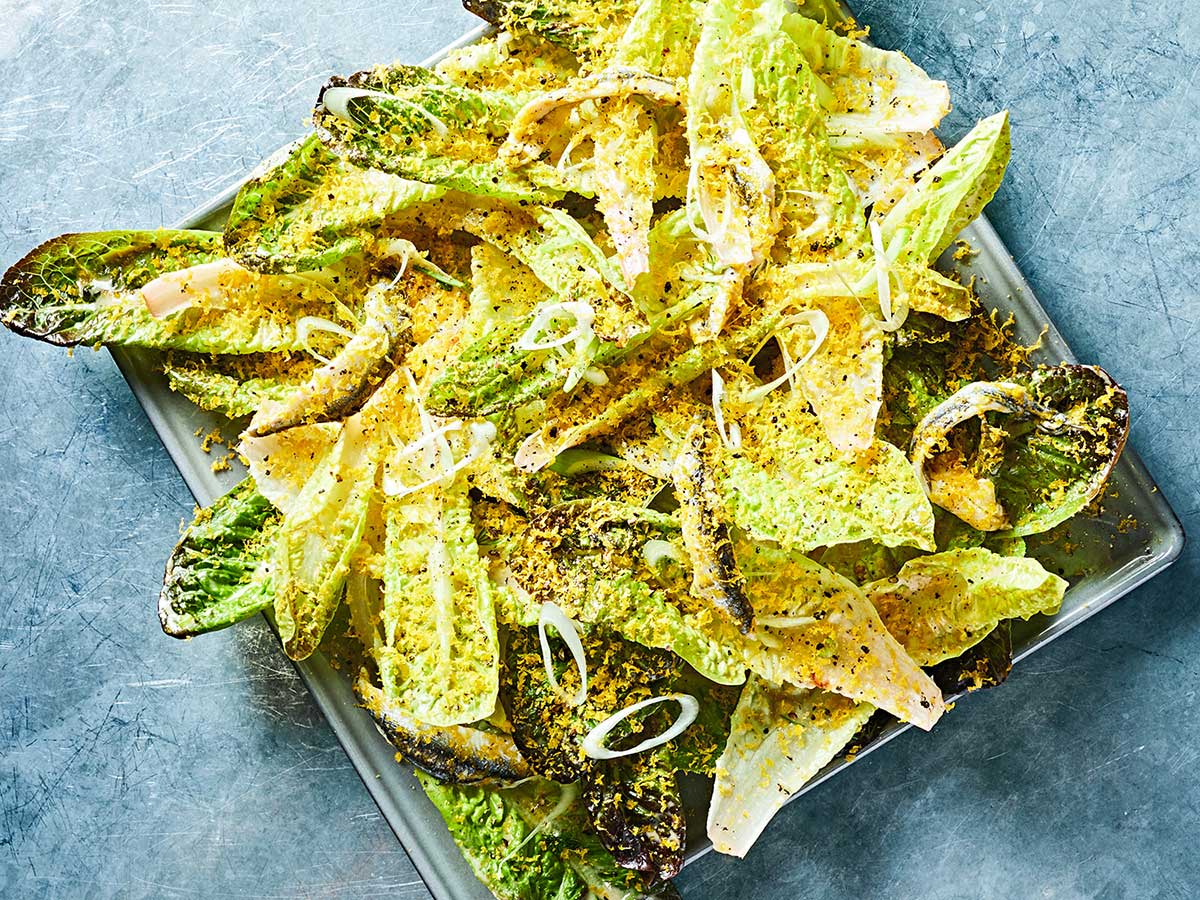 Little Gem Lettuces with Marinated Anchovies and Bottarga