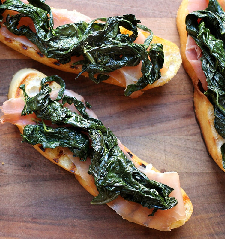 Kale and Prosciutto on Toast