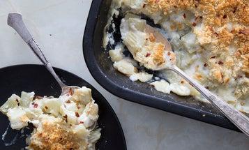 Mario Batali's Baked Cardoons with Parmesan Bread Crumbs