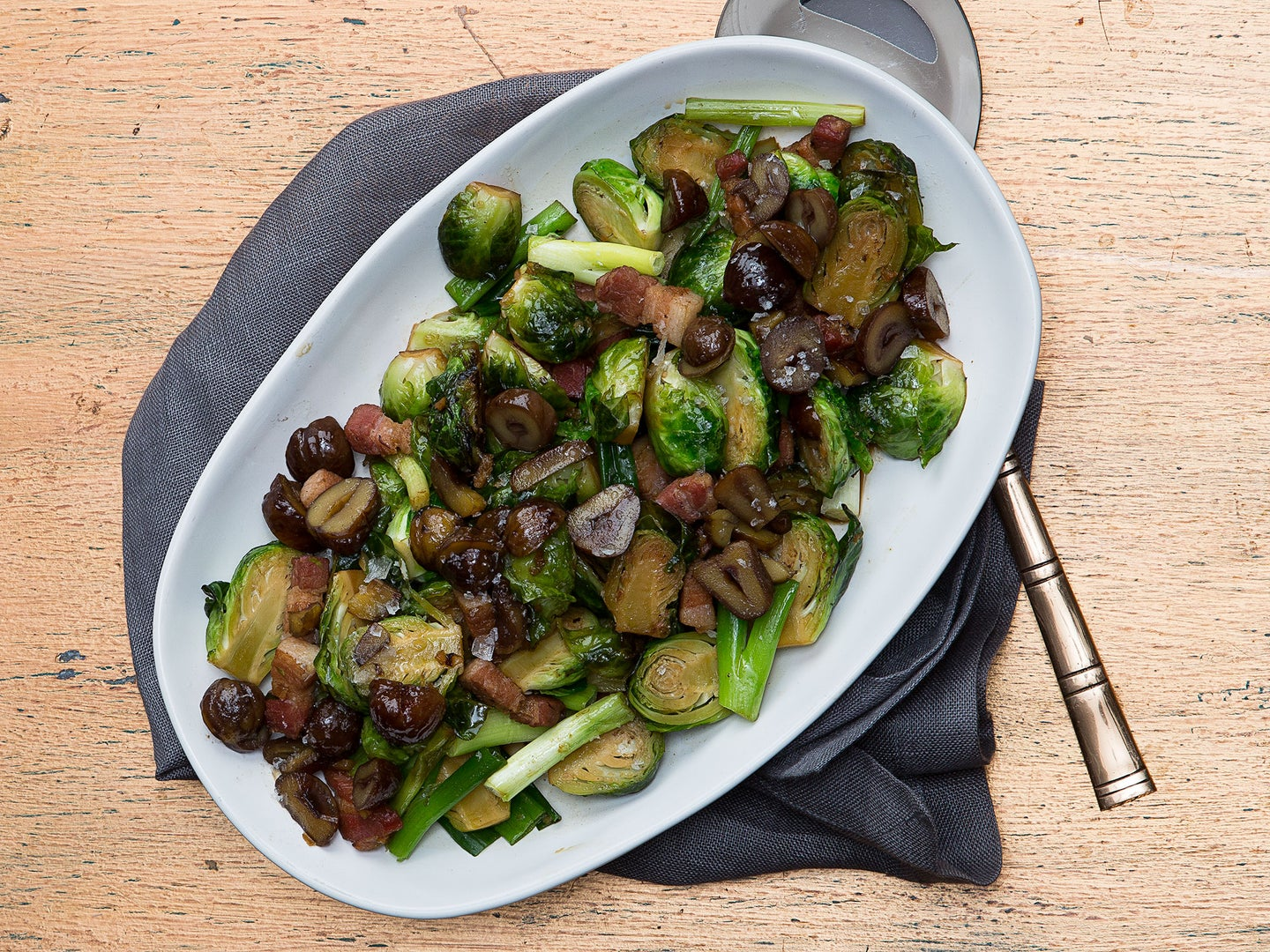 Fried Brussels Sprouts with Bacon and Chestnuts