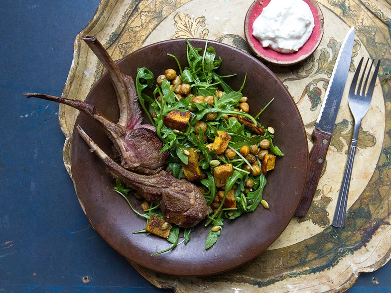 Roasted Rack Of Lamb with Roasted Pumpkin and Chickpea Salad