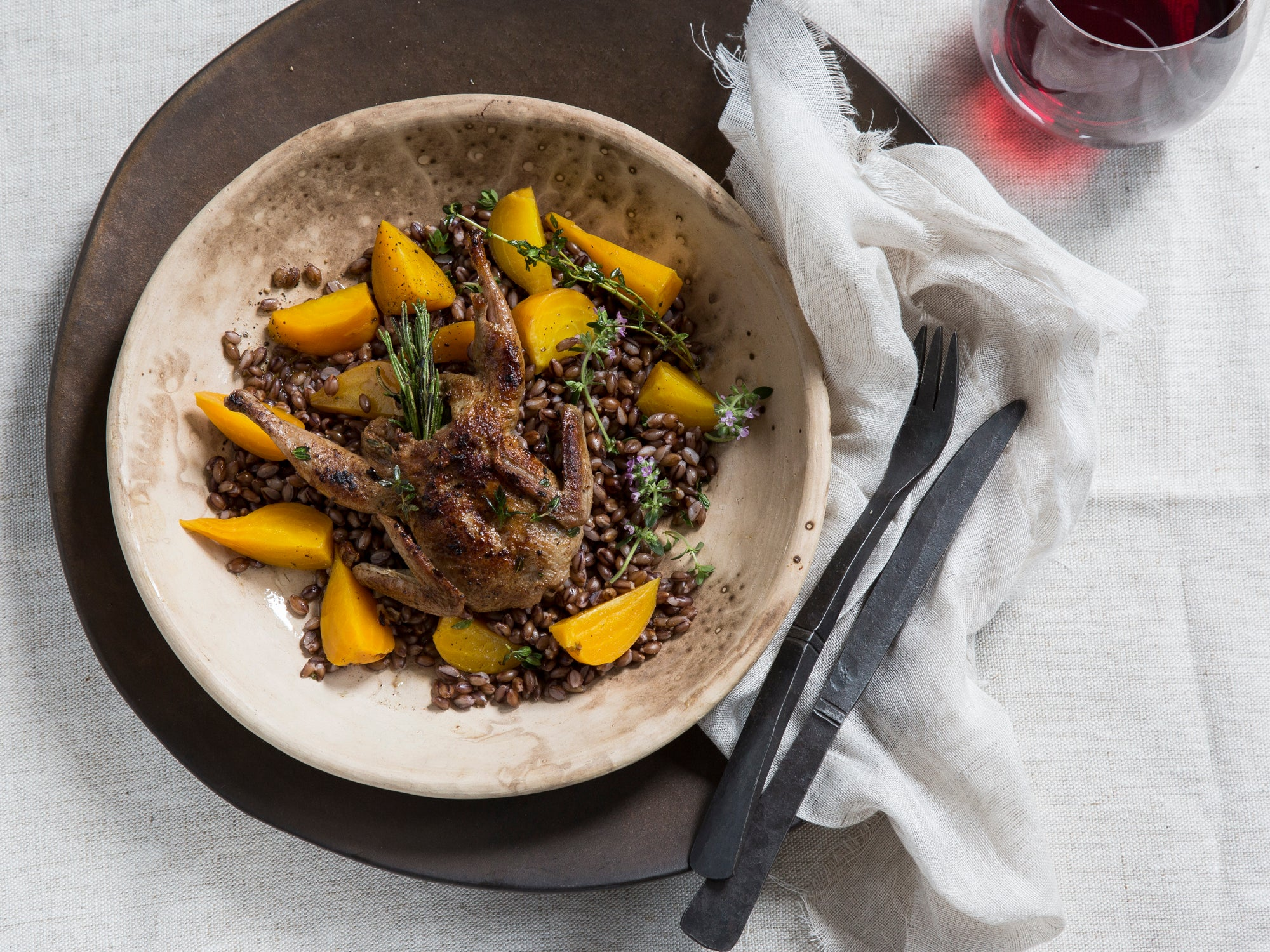 Sautéed Quail with Black Barley, Beets, and Fig Sauce