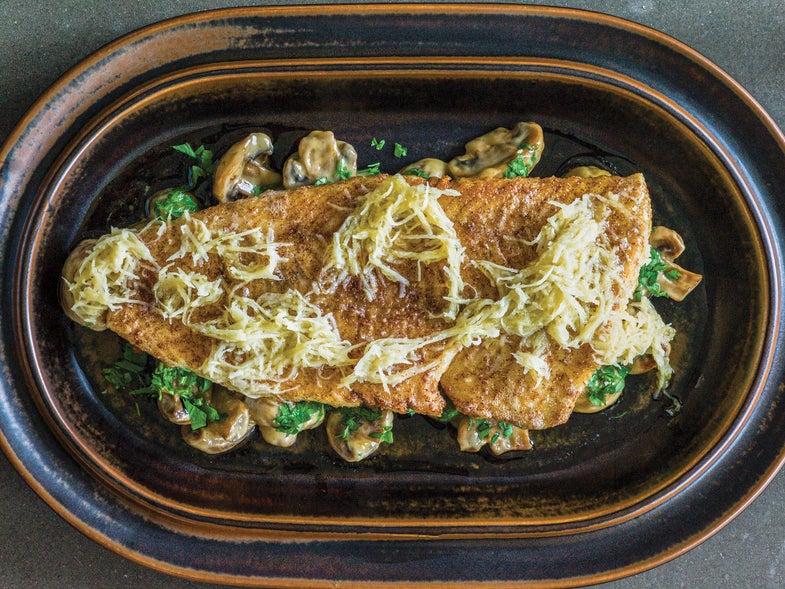 Sweden, recipe, Magnus Nilsson, pike-perch, creamed mushrooms, horseradish butter