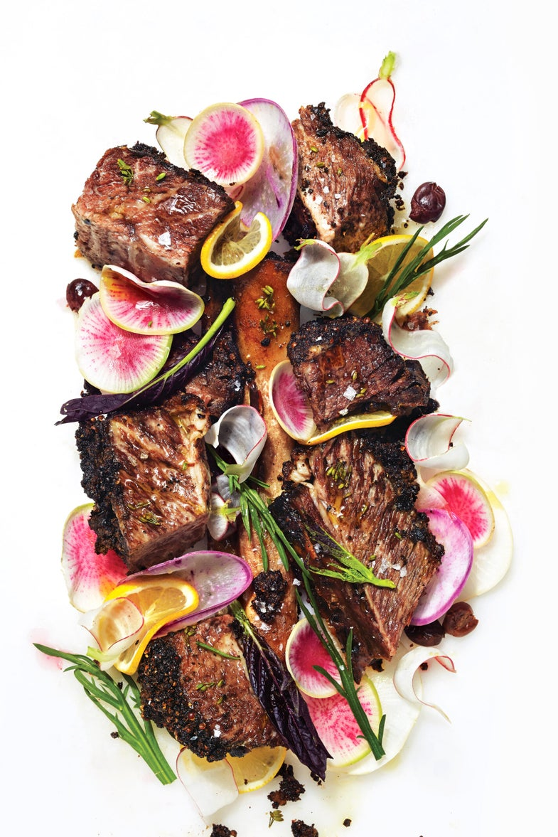 Justin Smillie's Peppercorn-Crusted Short Ribs with Lemon, Olives, and Radishes