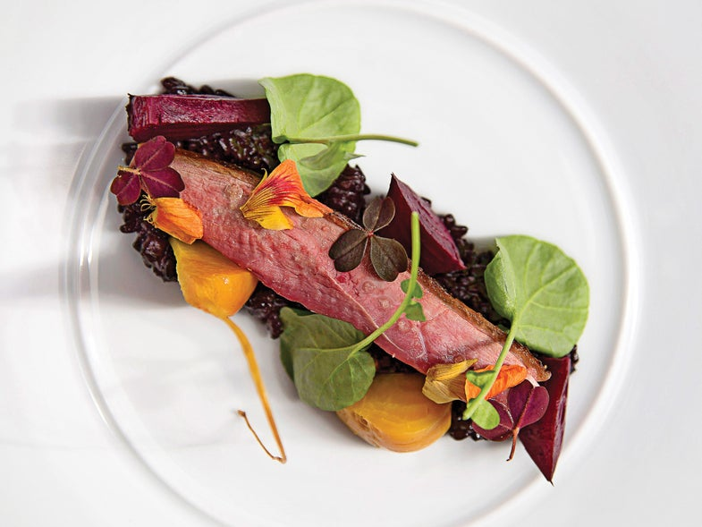 Skillet-Cooked Duck Breast with Beets and Watercress