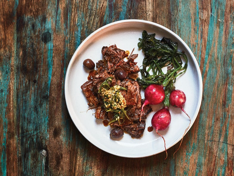 braised beef shank with radishes and flaxseed relish