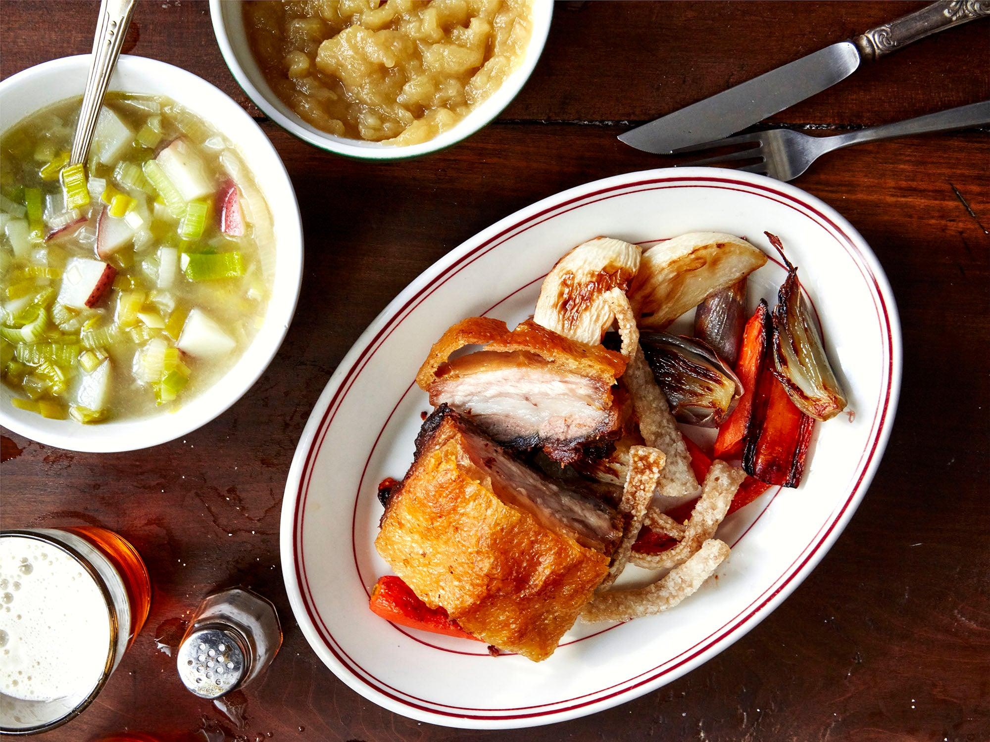 Crisp Pork Belly with Roasted Vegetables and Applesauce