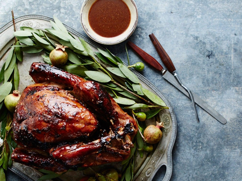 Tamarind-Glazed Roast Turkey Recipe, Thanksgiving turkey recipe, african turkey recipe