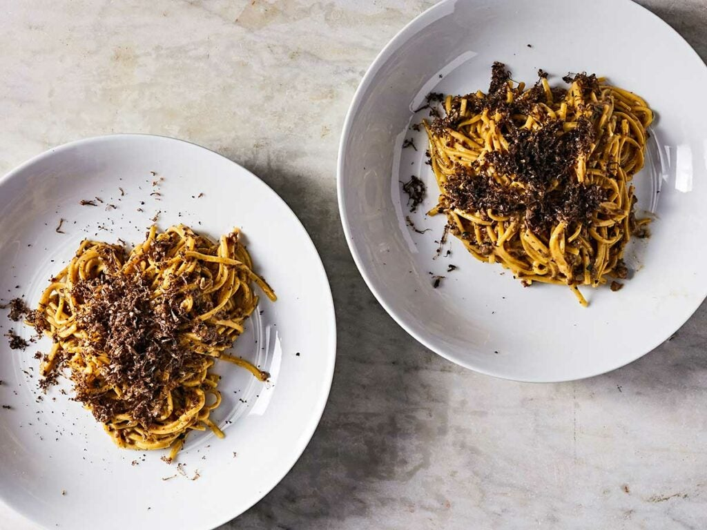 Homemade pasta with chicken liver