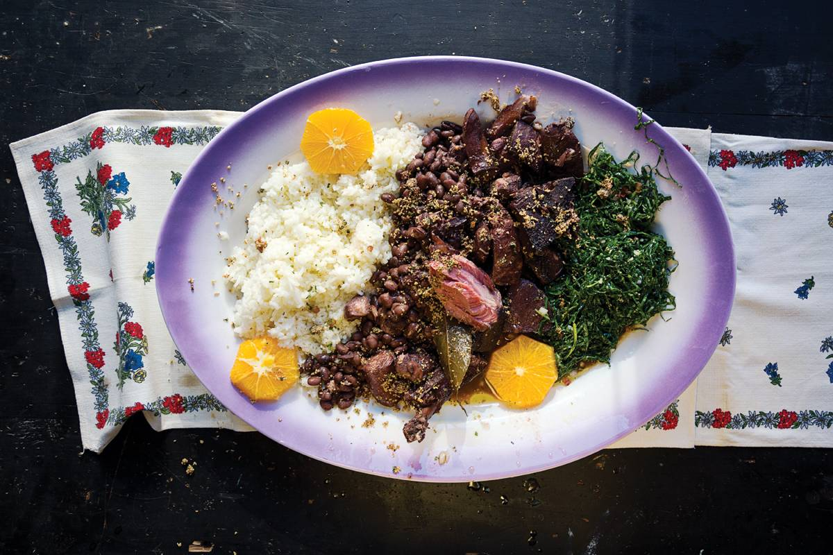 Brazilian Beans with Smoked Pork, Rice and Collards (Feijoada)