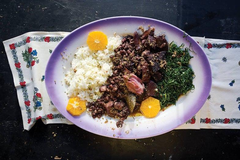 Brazilian Beans with Smoked Pork, Rice and Collards (Feijoada)