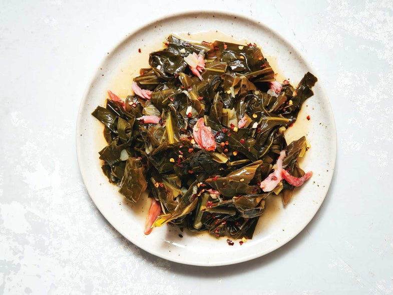 Braised Collard Greens with Pickled Trotters