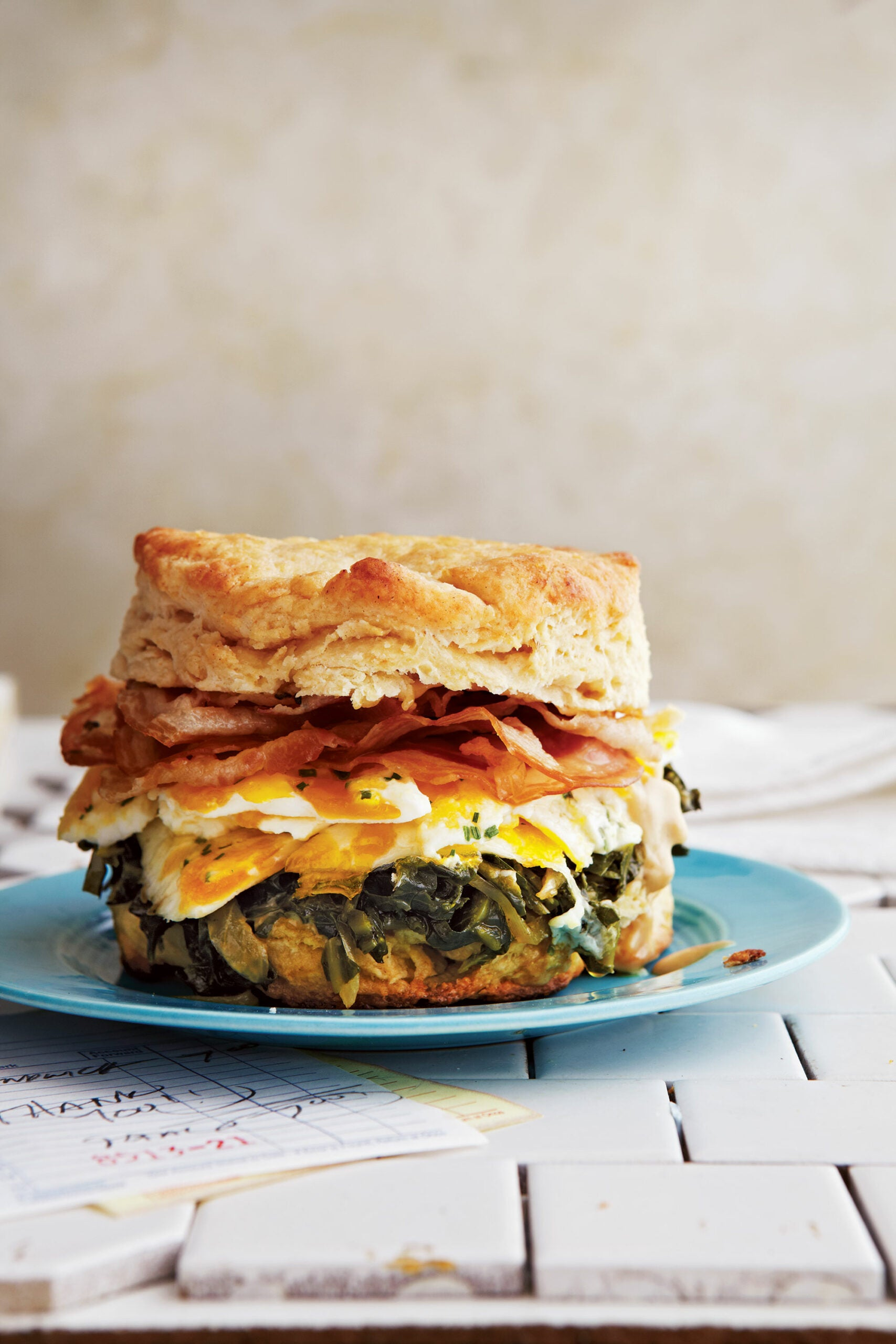 Biscuits with Pancetta, Collard Greens, Marbleized Eggs, and Espresso Aïoli