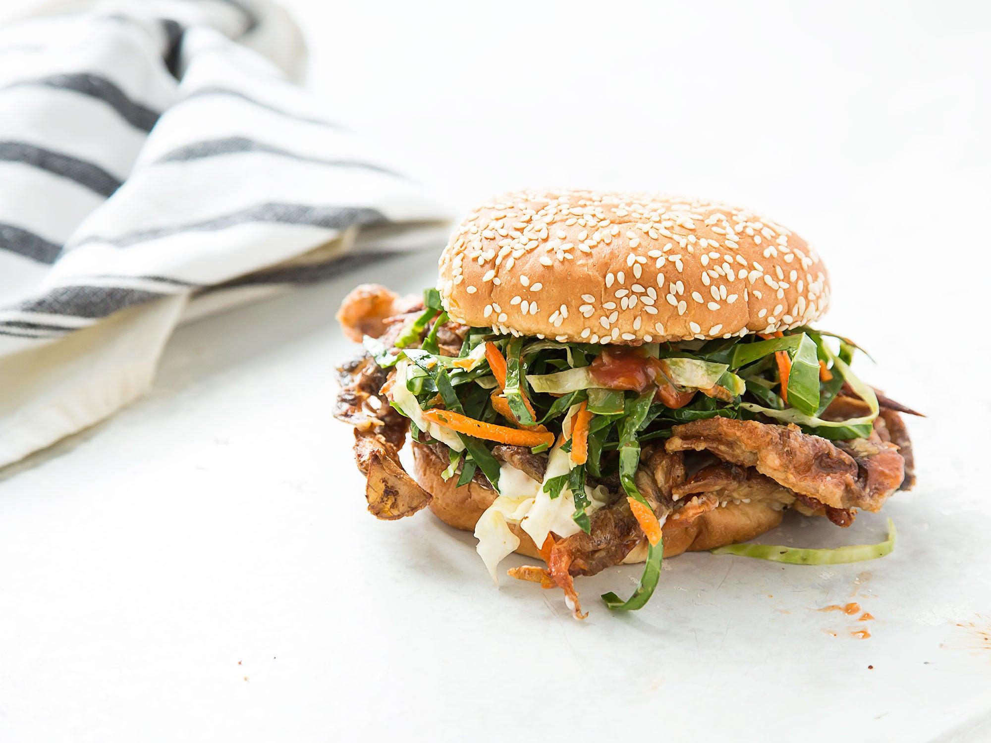 Softshell Crab Sandwich with Collard Slaw