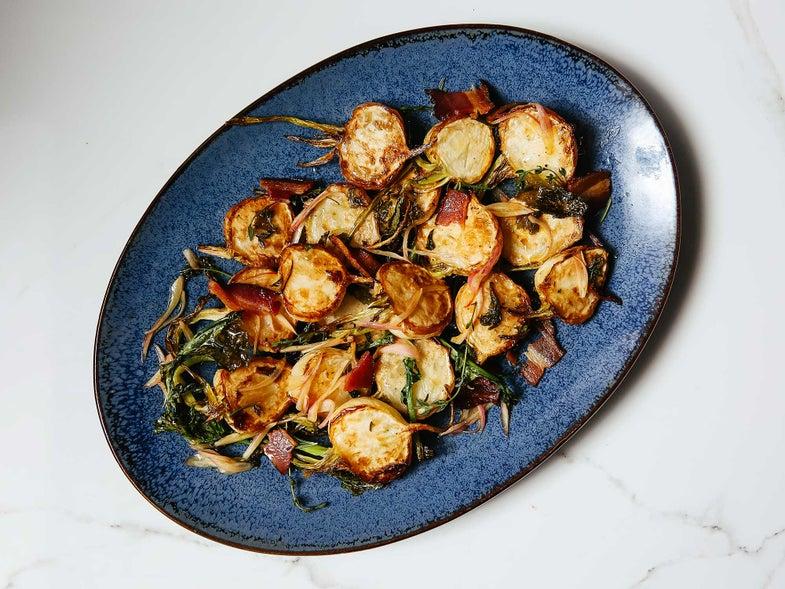 Roasted Turnips with Bacon Vinaigrette