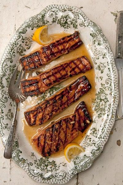 Salmon Glazed with Rosemary- and Lemon-Infused Honey