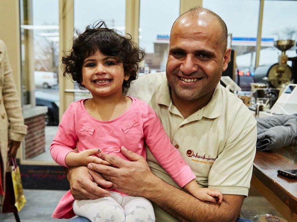 Owner Ibrahim Alhasbani and his daughter