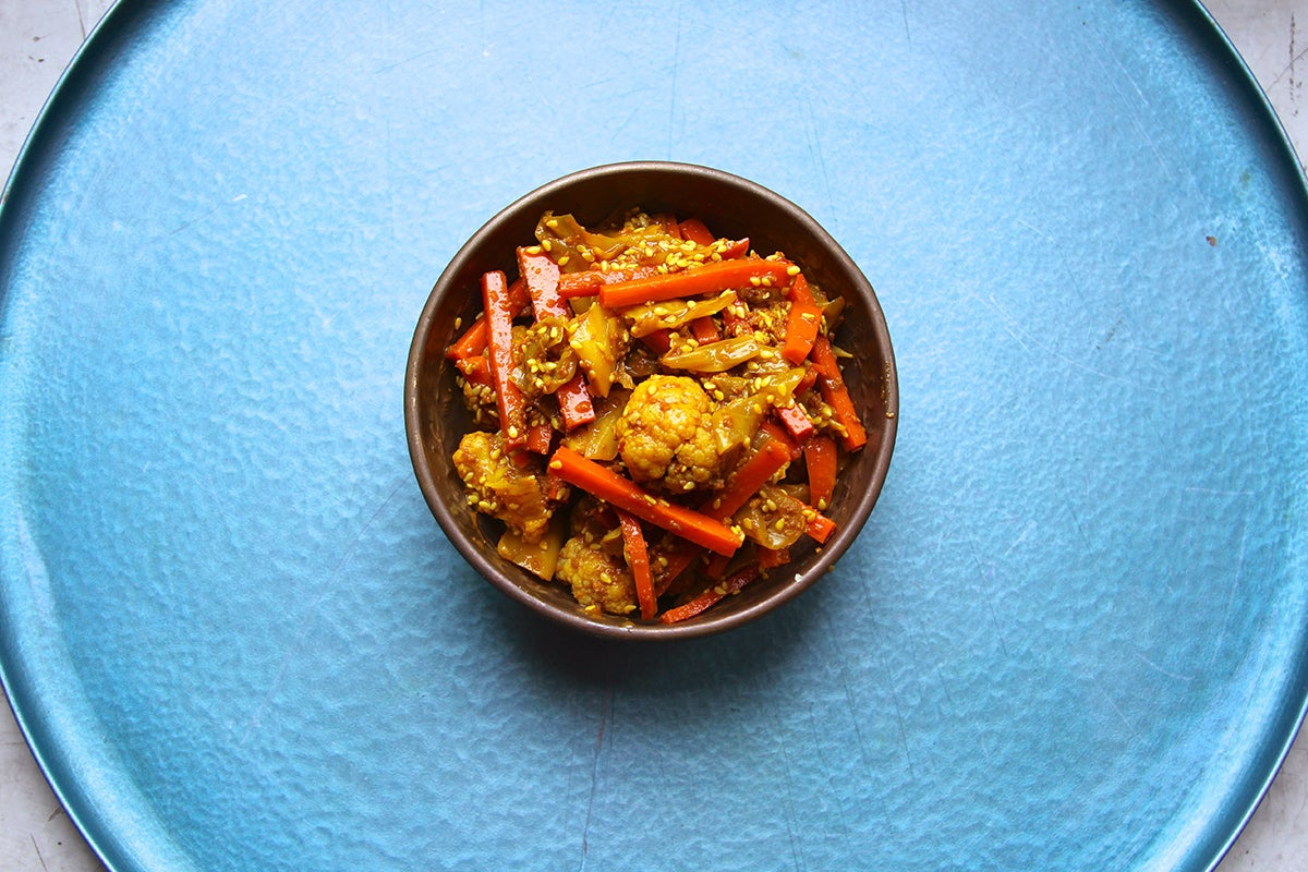 Cauliflower, Carrot, and Cabbage Pickle