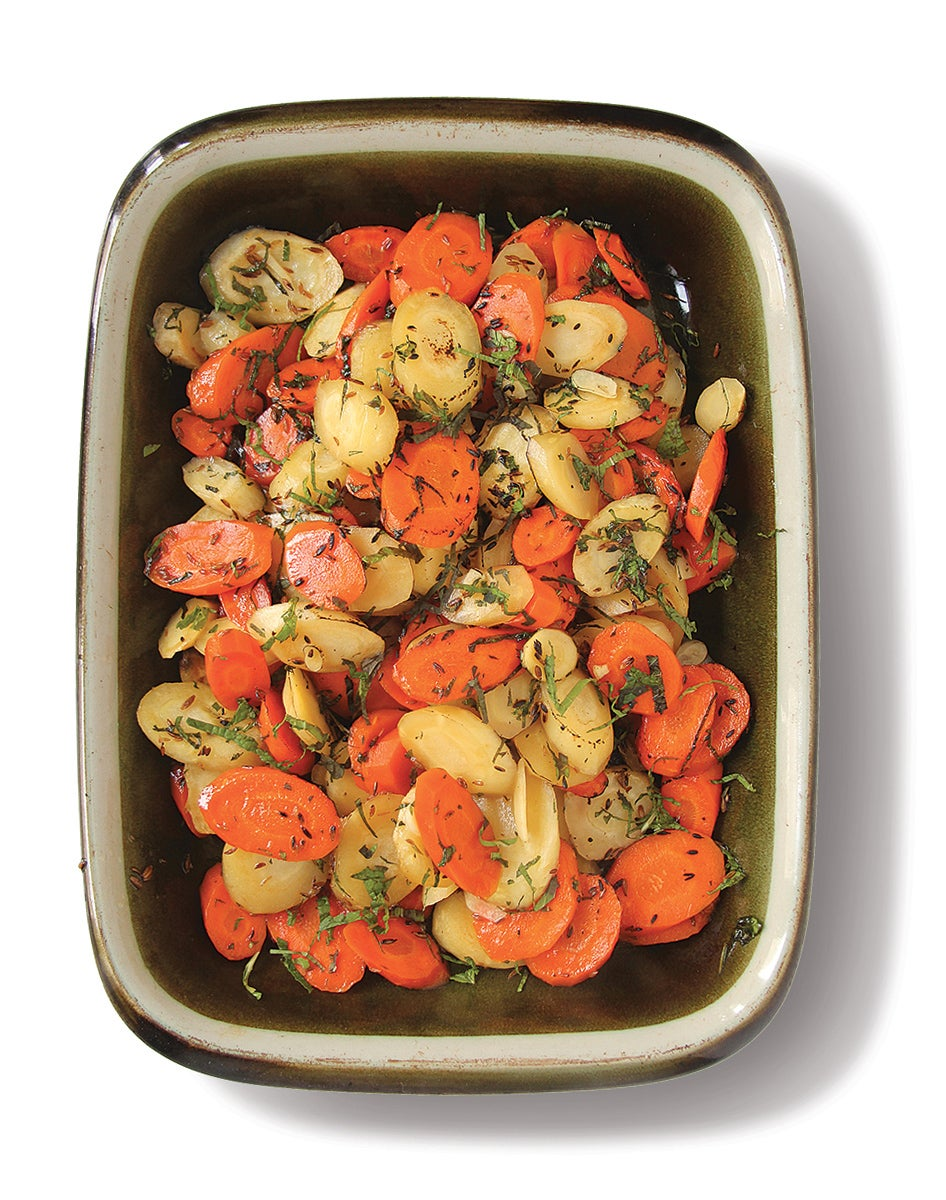 Cumin-roasted carrots and parnsips